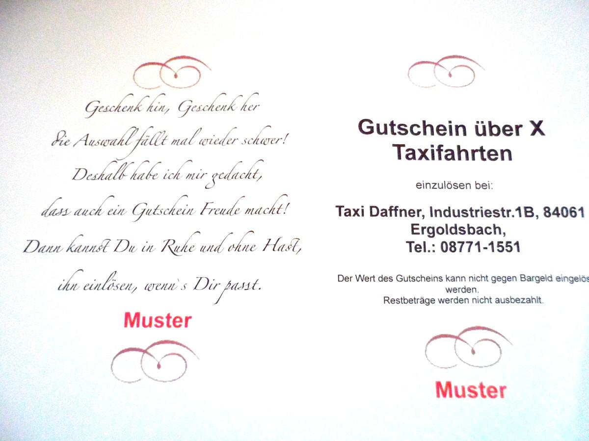 Gutschein von Taxi Daffner in Ergoldsbach
